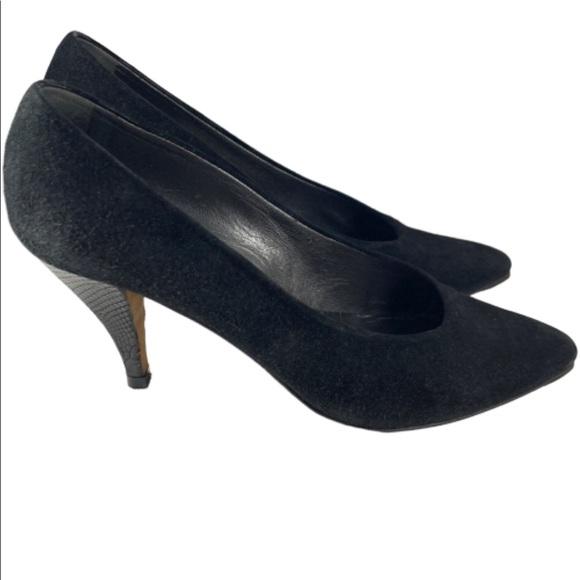 Black Suede Classic Mid Heel Pumps